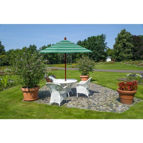 California Umbrella 9' Round Marenti Wood Frame Market Umbrella with Olefin Fabric, Base Not Included