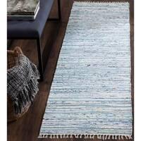 Safavieh Hand-Woven Rag Light Blue/ Multi Cotton Rug - 2'3 x 7'