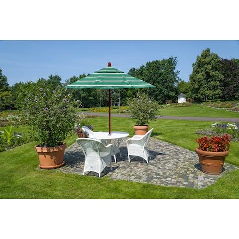 California Umbrella 9' Round Marenti Wood Frame Market Umbrella with Pacifica Fabric, Base Not Included