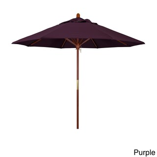 California Umbrella 9' Round Marenti Wood Frame Market Umbrella, Push Open, Stained Natural Wood Finish, Pacifica Fabric (Option: stained wood finish/Purple)