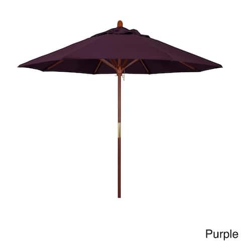 California Umbrella 9' Round Marenti Wood Frame Market Umbrella, Push Open, Stained Natural Wood Finish, Pacifica Fabric