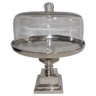 Aluminium and Glass Domed Cake Stand