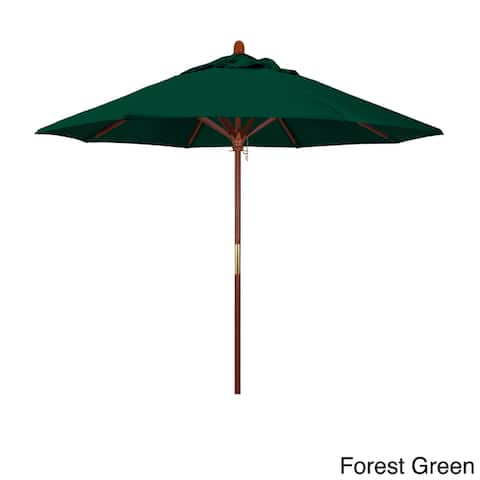California Umbrella 9ft Marenti Wood Market Umbrella with Sunbrella Fabric, Base Not Included