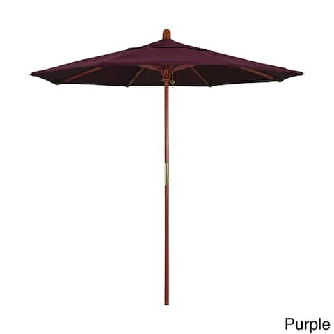 California Umbrella 7.5' Round Marenti Wood Frame Market Umbrella, Push Open, Stained Natural Wood Finish, Pacifica Fabric