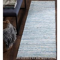 Safavieh Hand-Woven Rag Rug Light Blue/ Multi Cotton Rug - 2'3 x 8'