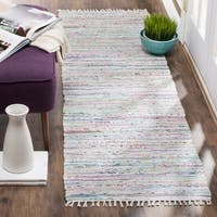 Safavieh Hand-Woven Rag Light Green/ Multi Cotton Rug (2'3 x 7') - 2'3 x 7'