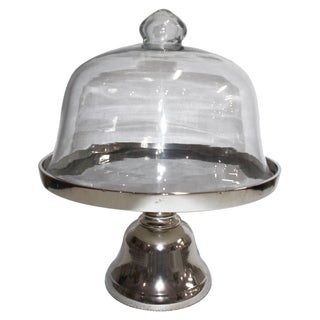 Aluminium and Glass 13.5-inch x 16-inch Domed Cake Stand