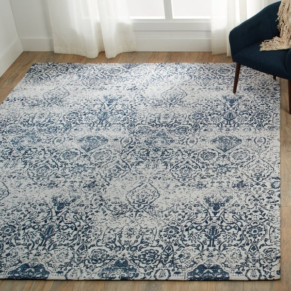 Nourison Damask Distressed Ivory Navy Area Rug 8 X27