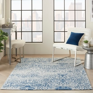 Shop Nourison Damask Distressed Ivory Navy Area Rug 8 X