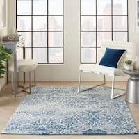 Nourison Damask Distressed Ivory/Navy Area Rug - 8' x 10'