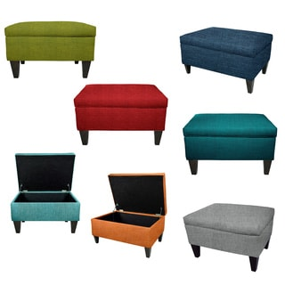 MJL Furniture BROOKLYN Wood Polyester Upholstered Storage Ottoman