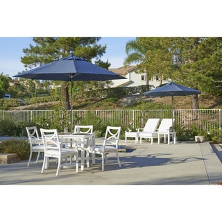 California Umbrella 9' Rd. Stainless Steel/ Fiberglass Rib Contract Market Umbrella, Push Open, Silver Finish, Olefin Fabric