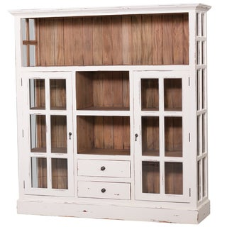 Bramble Co. Cape Cod White Distressed Kitchen 2 Door Cupboard with Drawers