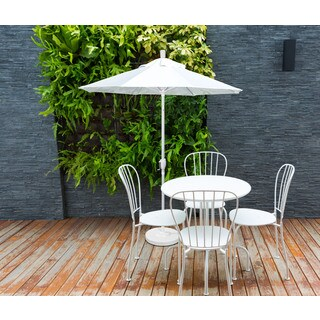 California Umbrella 9' Rd. Aluminum Market Umbrella, Crank Lift with Push Button Tilt, White Finish, Pacifica Fabric