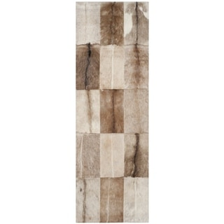 Safavieh Handmade Studio Leather Rustic Animal Beige/ Brown Rug (2'3 x 7')