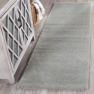 Safavieh Velvet Shag Light Grey Polyester Rug (2' 3 x 7')