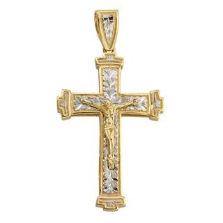 14k Yellow/White Gold Diamond Cut Cross Pendant