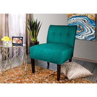 MJL Furniture Samantha Blue/Brown Fabric/Wood Button-tufted Lucky Accent Chair|https://ak1.ostkcdn.com/images/products/11976108/P18858393.jpg?impolicy=medium