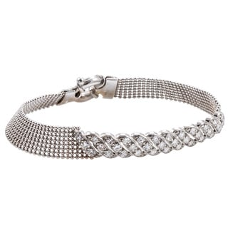 14k White Gold 1 1/5ct TDW Antique Diamond Beaded Estate Mesh Bracelet (H-I, SI1-SI2)
