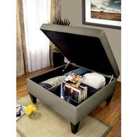 MJL Furniture Manhattan DAWSON-7 Espresso Wood/Polyester/Foam Upholstered Organizational Cocktail Ottoman Table