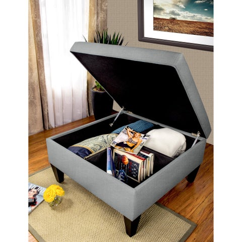 MJL Furniture Solid-colored Fabric Organizational Ottoman