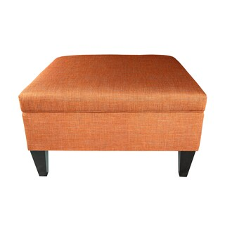 MJL Furniture Solid-colored Fabric Organizational Ottoman (Option: Terracotta)
