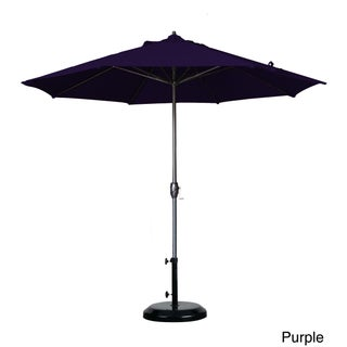 California Umbrella 9' Round Aluminum Crank Open Auto Tlit Market Umbrella, Bronze Frame Finish, Pacifica Fabric (Option: Bronze Finish/Purple)