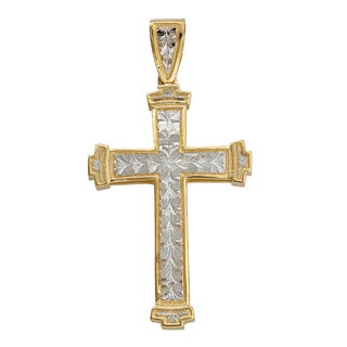 14K Gold Yellow and White DC Cross Pendant