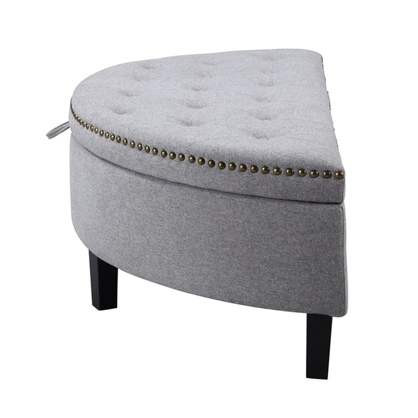 mac at home extra large moon chair with ottoman. chic home jacqueline linen button tufted gold nailhead trim half moon storage ottoman - free shipping today overstock.com 18858444 mac at extra large chair with n