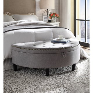 Chic Home Jacqueline Linen Button Tufted Gold Nailhead Trim Half Moon Storage Ottoman (2 options available)