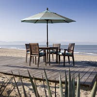 California Umbrella 9' Rd. Aluminum Market Umbrella, Crank Lift with Push Button Tilt, Bronze Finish, Olefin Fabric