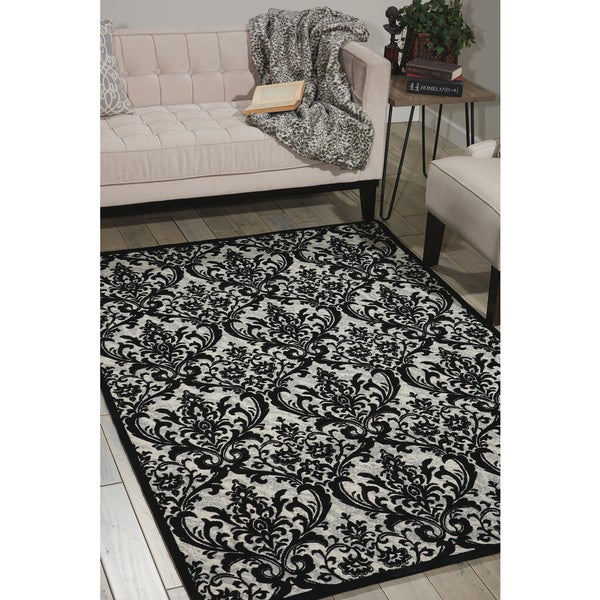 Nourison damask black white rug 8 x