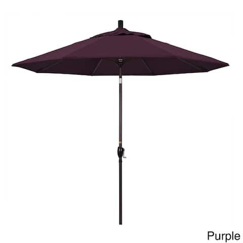 California Umbrella 9' Rd. Aluminum Market Umbrella, Crank Lift with Push Button Tilt, Bronze Finish, Pacifica Fabric