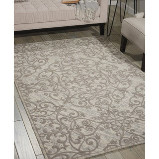 Nourison Damask Ivory Grey Rug (8' x 10')