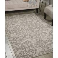 Nourison Damask Ivory Grey Rug - 8' x 10'
