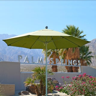 California Umbrella 9' Rd. Aluminum Frame, Fiberglass Rib Market Umbrella, Push Open, Bronze Finish, Olefin Fabric