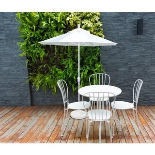 California Umbrella 7.5' Rd. Aluminum Market Umbrella, Crank Lift with Push Button Tilt, White Finish, Olefin Fabric