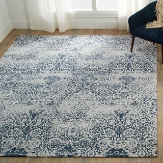 Nourison Damask Distressed Ivory/Navy Area Rug - 5' x 7'