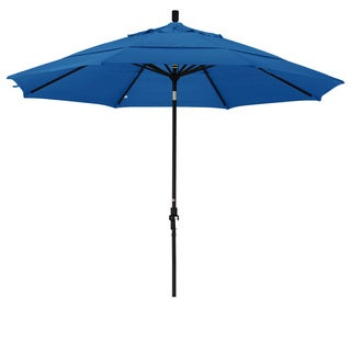 California Umbrella 11' Rd. Aluminum Market Umbrella, Crank Lift, Collar Tilt, Dbl Wind Vent, Black Finish, Olefin Fabric