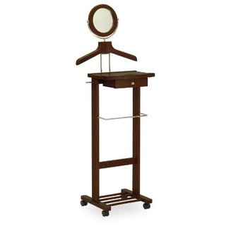 94155-WW Wood Valet Stand With Mirror, Drawer, Tie Hook, and Casters