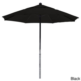 California Umbrella 7.5' Rd. Fiberglass Frame/Rib Commercial Market Umbrella, Push Lift System, Black Finish, Olefin Fabric