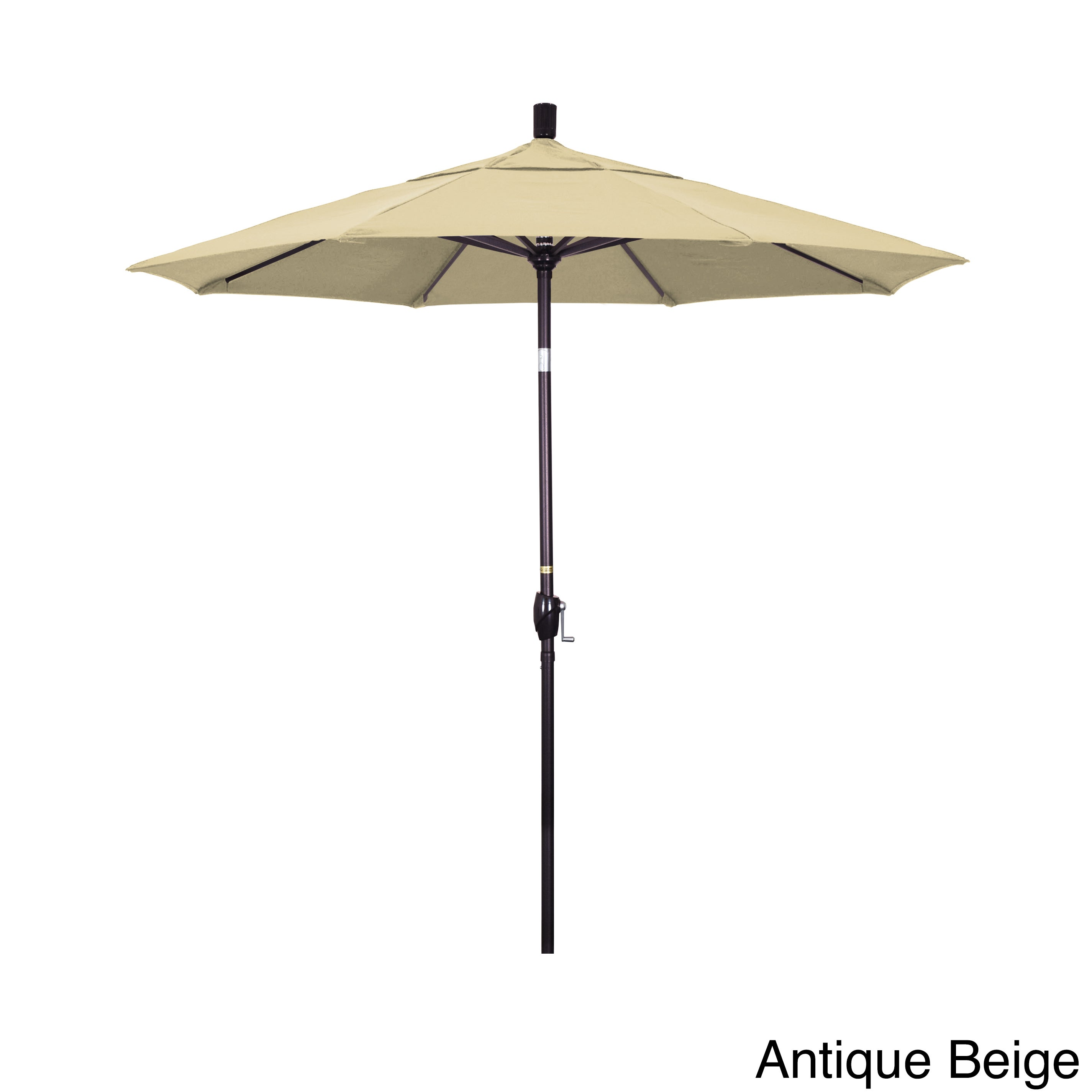California Umbrella 7 5 Rd Aluminum Market Umbrella Crank Lift With Push Button Tilt Bronze Finish Olefin Fabric Overstock 11976361