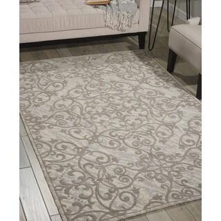 Nourison Damask Ivory Grey Rug (5' x 7')