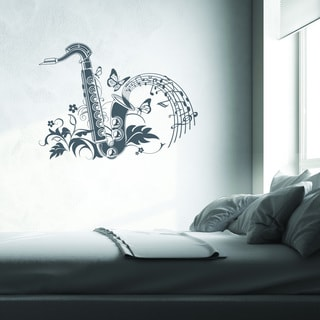 Style & Apply Floral Saxophon Vinyl Wall Decal and Sticker Mural Art Home Decor