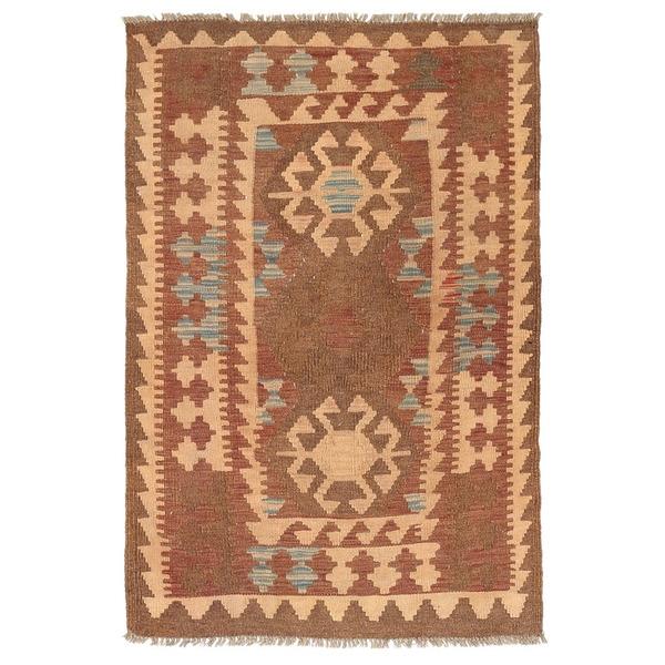 Handmade Herat Oriental Afghan Wool Mimana Kilim - 2'10 x 4'5 (Afghanistan)
