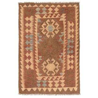 Herat Oriental Afghan Hand-woven Wool Mimana Kilim (2'10 x 4'5)