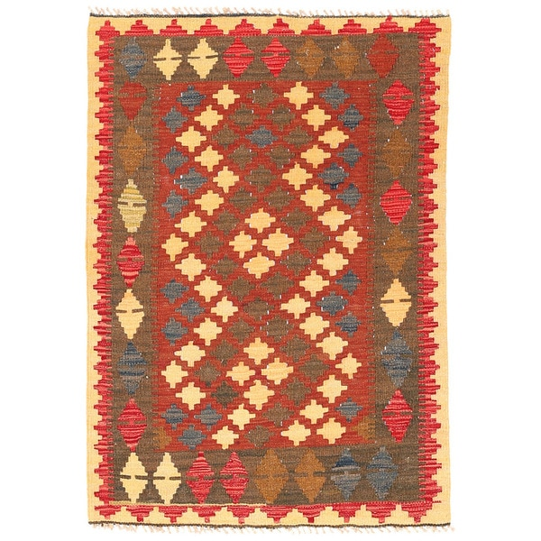 Herat Oriental Afghan Hand-woven Wool Mimana Kilim - 2'9 x 4'