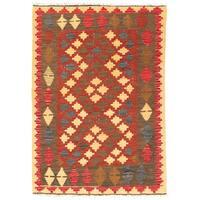 Handmade Herat Oriental Afghan Wool Mimana Kilim (Afghanistan) - 2'9 x 4'