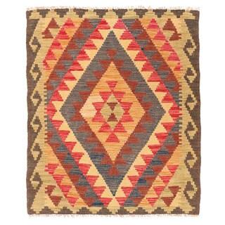 Herat Oriental Afghan Hand-woven Wool Mimana Kilim (3' x 3'7)
