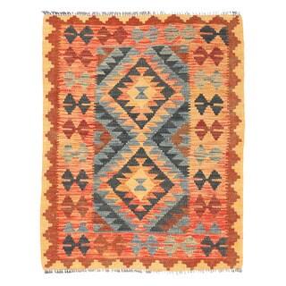 Herat Oriental Afghan Hand-woven Wool Mimana Kilim Rug  (2'8 x 3'6)